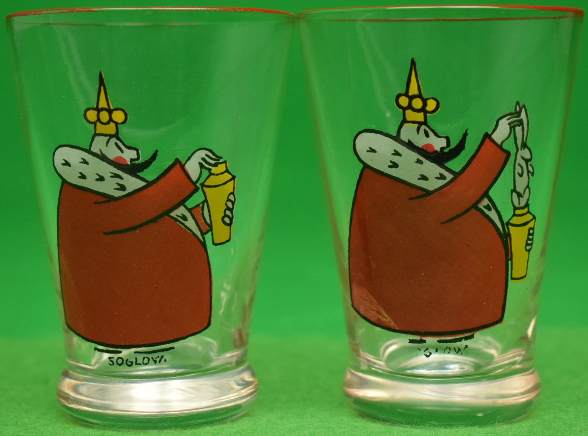 Pair of Hand-Painted c1930s 'The Little King' Shot Glasses Signed: Soglow
