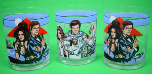 2 'The Spy Who Loved Me' 1977 & 1 'Moonraker' 1979 Old-Fashioned Glasses