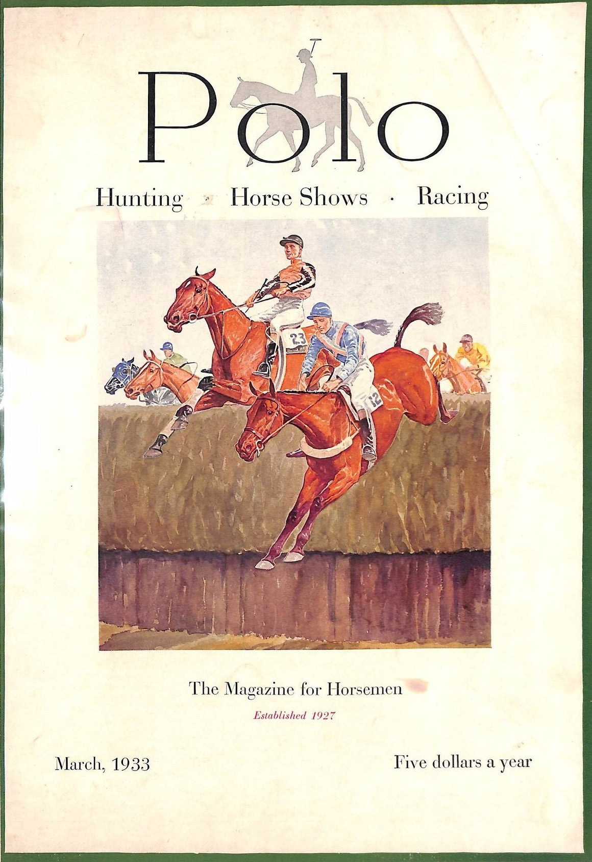 Polo Magazine March, 1933 w/ Paul Brown Steeplechase Cover