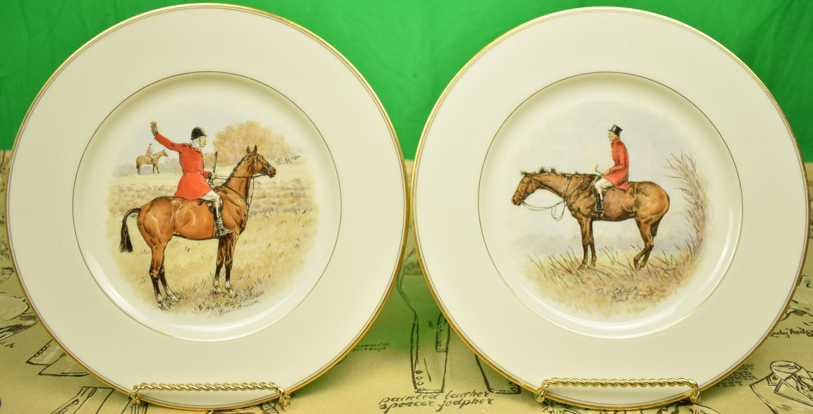 Set of 2 Paul Brown Lenox China Hand-Painted c1932 Fox-Hunt Scene Dinner Plates
