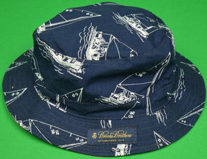 """Brooks Brothers Reversible Navy/ Ack Red Bucket Hat w/ Paul Brown Sailboat Print"" Sz: S/ M"""
