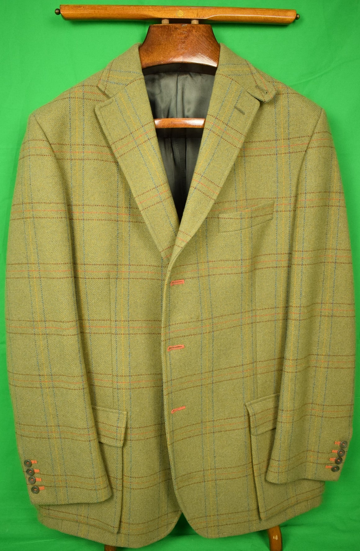 Magee of Ireland Multi-Windowpane Olive Tweed Oxford Shooting Jacket Sz 48