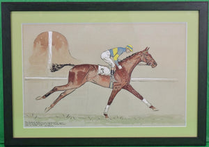 'Paul Desmond Brown Watercolour Golden Miller Winning The 1934 Aintree Grand National'