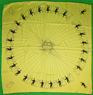 """21"" Club Jack & Charlie's All Silk Yellow Jockey Scarf"