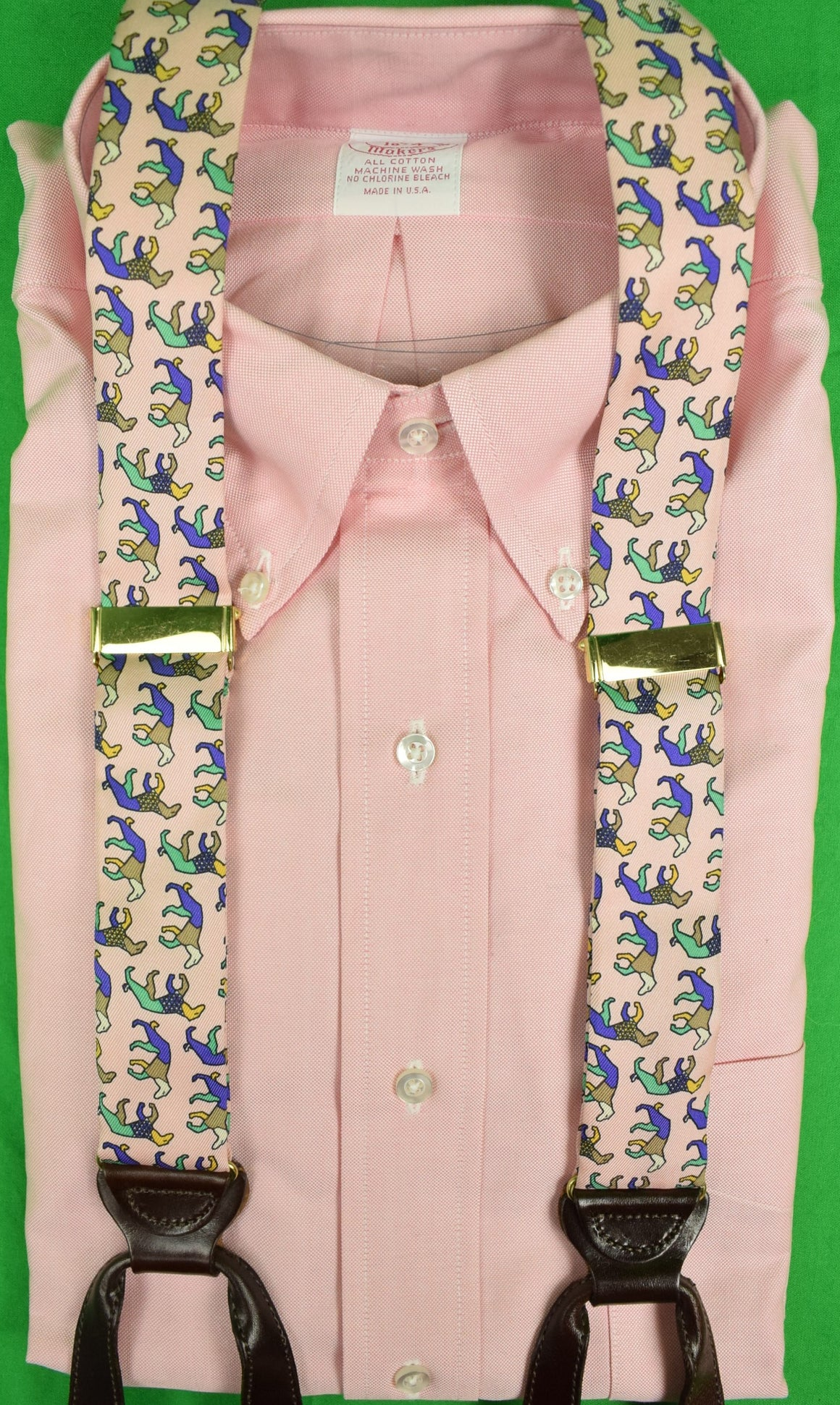 """Pink 'Hunting Dog' Print Silk Braces"""
