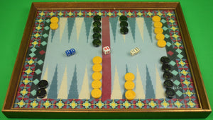 Petit Hand-Needlepoint Backgammon Board w/ Checkers & Dice