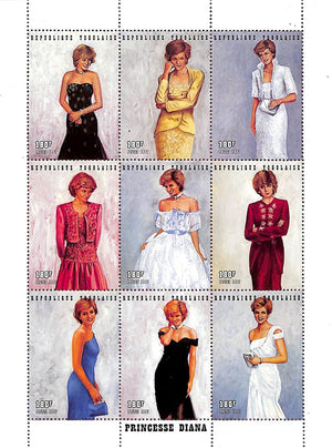 Princess Diana Royal Gowns Plate Block: Official Legal Tender Postage Stamps