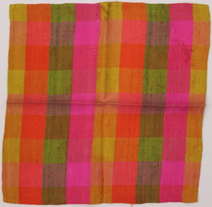Set of 4 Multi-Plaid Shantung Silk c1960s Cocktail Napkins/ Pocket Sqs