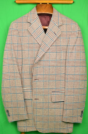 Glen Plaid Burg/ Navy Tweed Sport Jacket (New/ Old Stock) Sz: 42R
