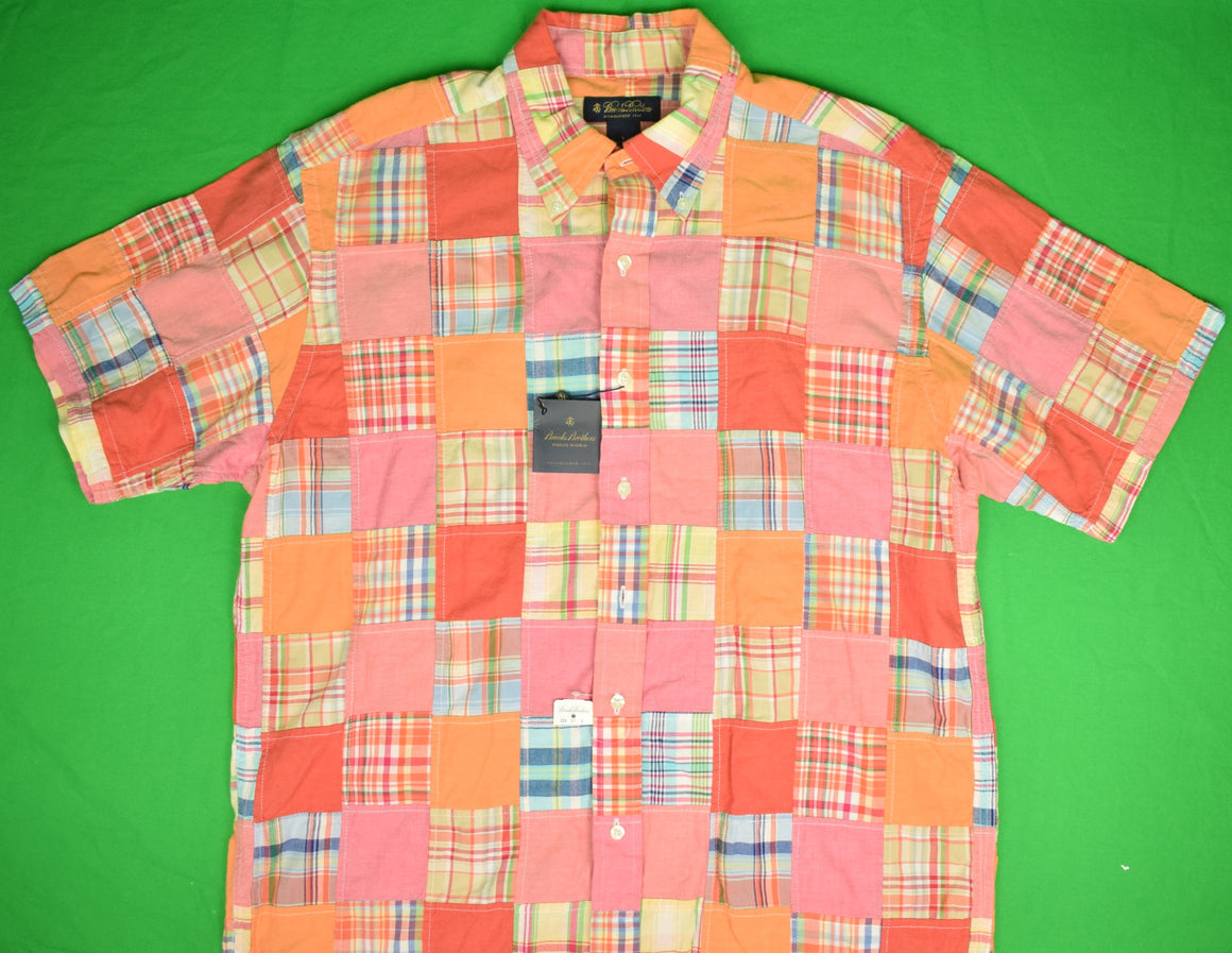 Brooks Brothers Patch Panel Indian Madras/ Chambray S/S Sport Shirt Sz: L (New w/ Tag!)