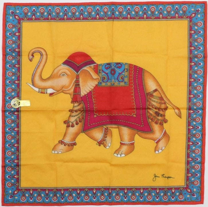 """Jim Thompson 'Thai Elephant' Cotton Pocket Sq"""