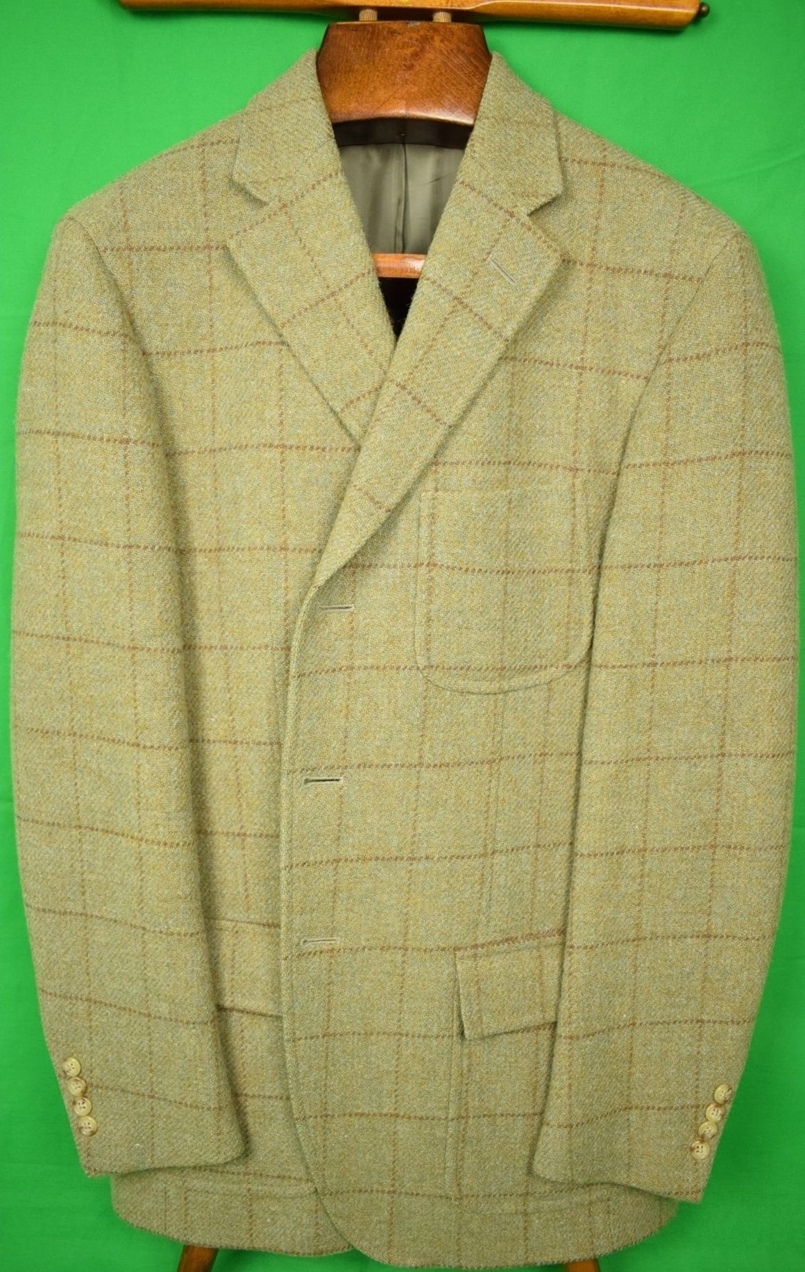 Polo Ralph Lauren Blanket Plaid Italian Wool Tweed Jacket Sz 42L