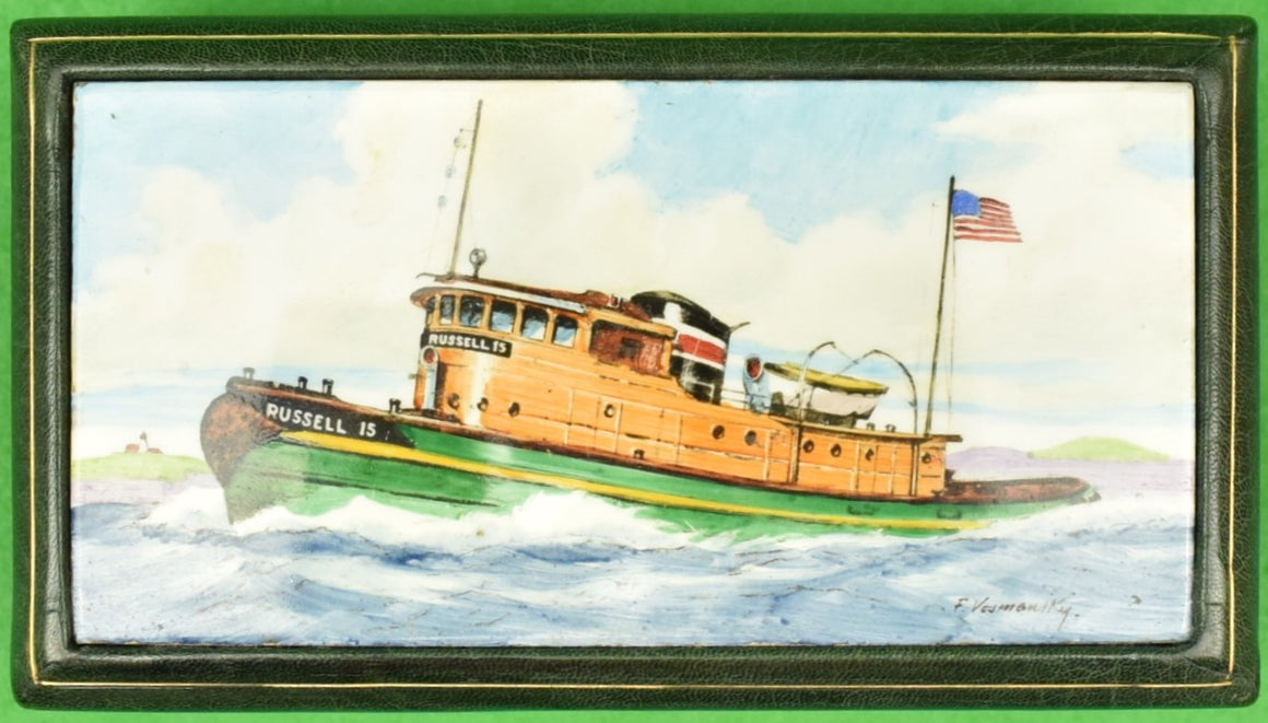 Russell 15 Tugboat Enamel Lid Cigarette Box Hand Painted by Frank Vosmansky for Abercrombie & Fitch