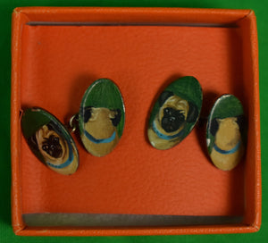 Pair of Hand-Painted Pug Dog Sterling Cufflinks