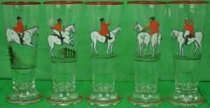 Set of 5 Cyril Gorainoff Fox-Hunter Tumbler/ Pilsner Glasses
