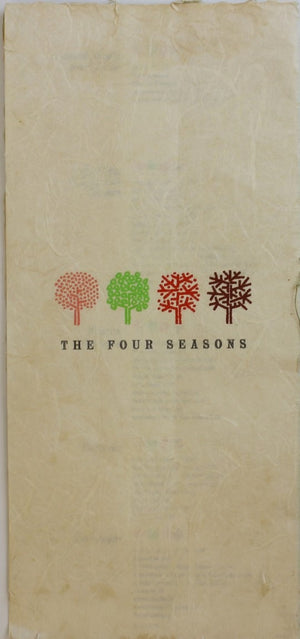"""Dinner at The Four Seasons Restaurant Menu"" (SOLD)"
