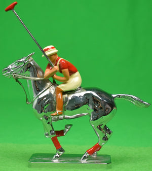 Lejeune Chrome Polo Pony & Player w/ Red Stripe Jersey Colour Car Mascot