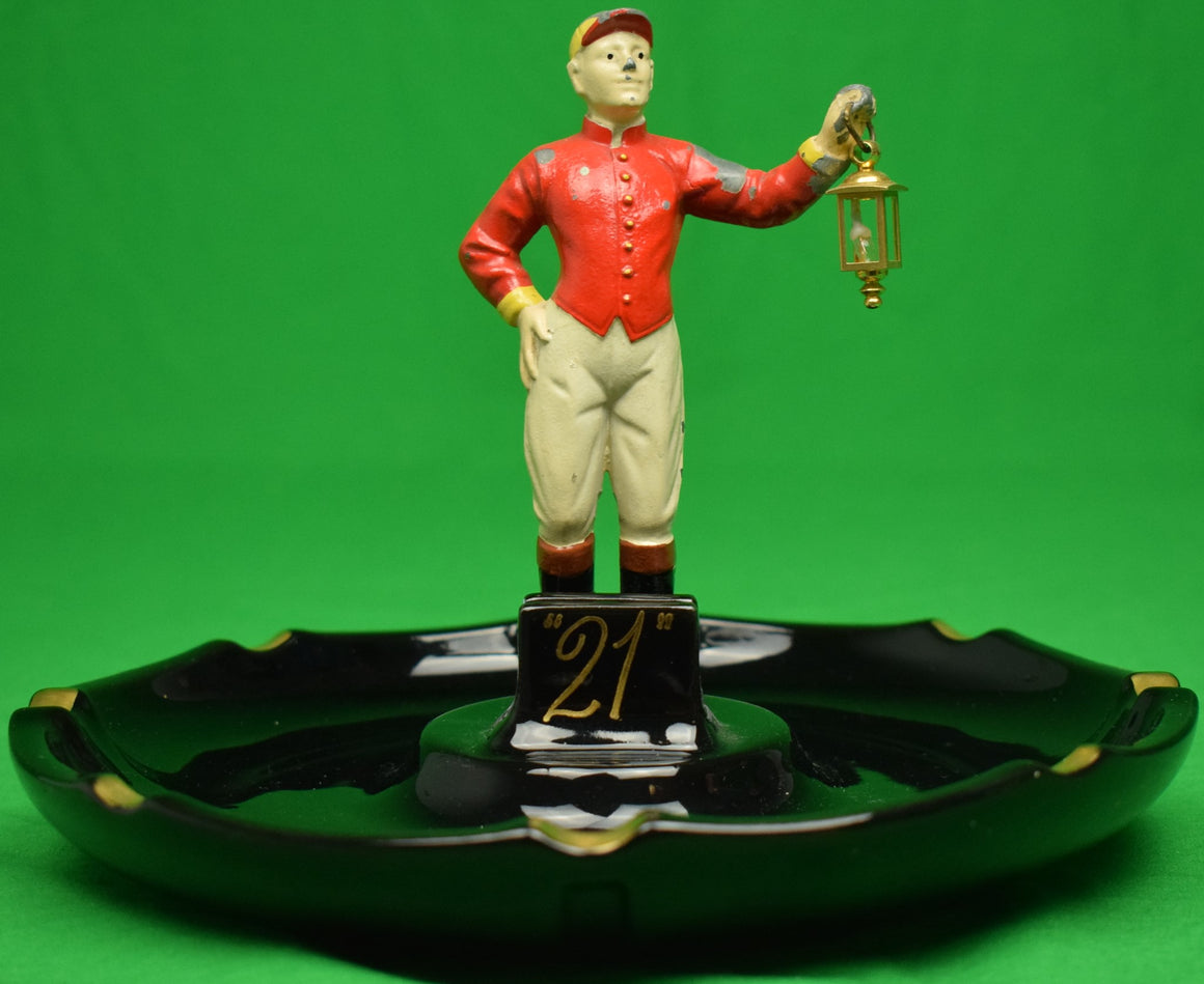 """21"" Club Jockey w/ Lantern Ashtray (SOLD)"