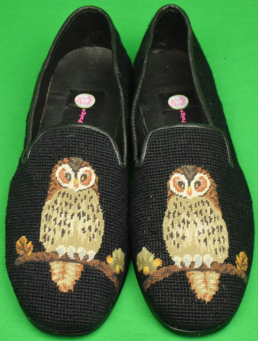 """Needlepoint Black Slippers Embroidered w/ Owls"" Sz: 11-1/2 (New)"