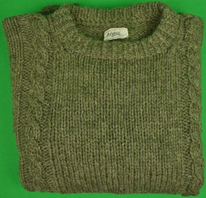 W. Bill London Heather Olive Shetland Wool Cable Crewneck Sweater