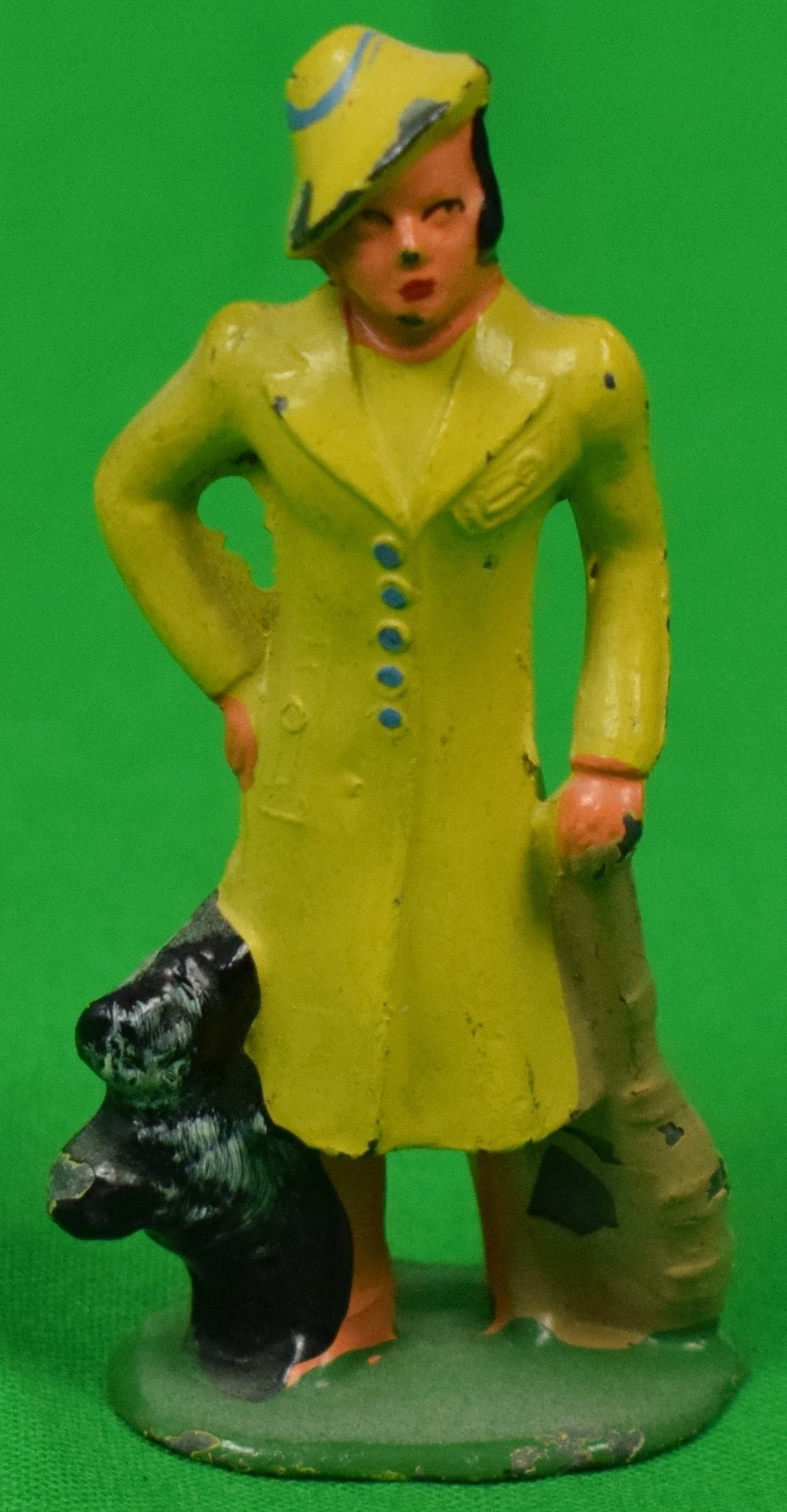 Woman in Yellow Outfit w/ Scottie Dog