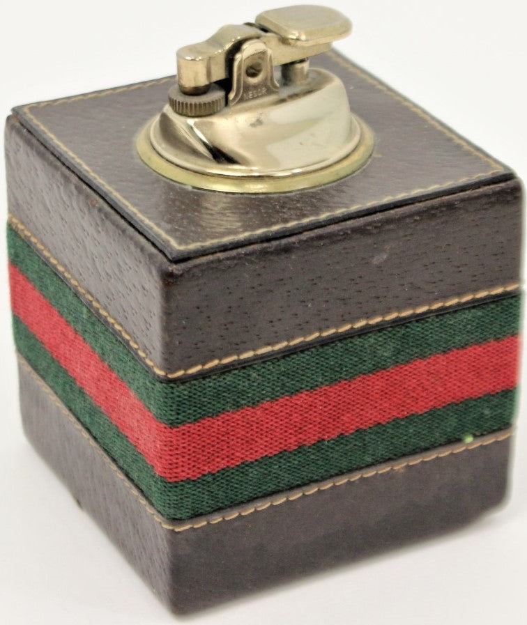 Gucci of Italy Cube Leather & Brass Lighter