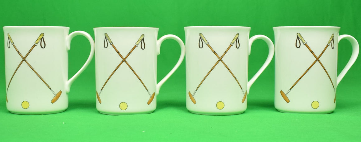 """Set of 4 Boehm English Porcelain X'd Polo Mallet Mugs"""