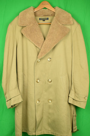 """Brooks Brothers DB 3/4 Length Cavalry Twill Belted Overcoat w/ Mouton Pile Collar Sz: L (New/ Old Stock!)"""