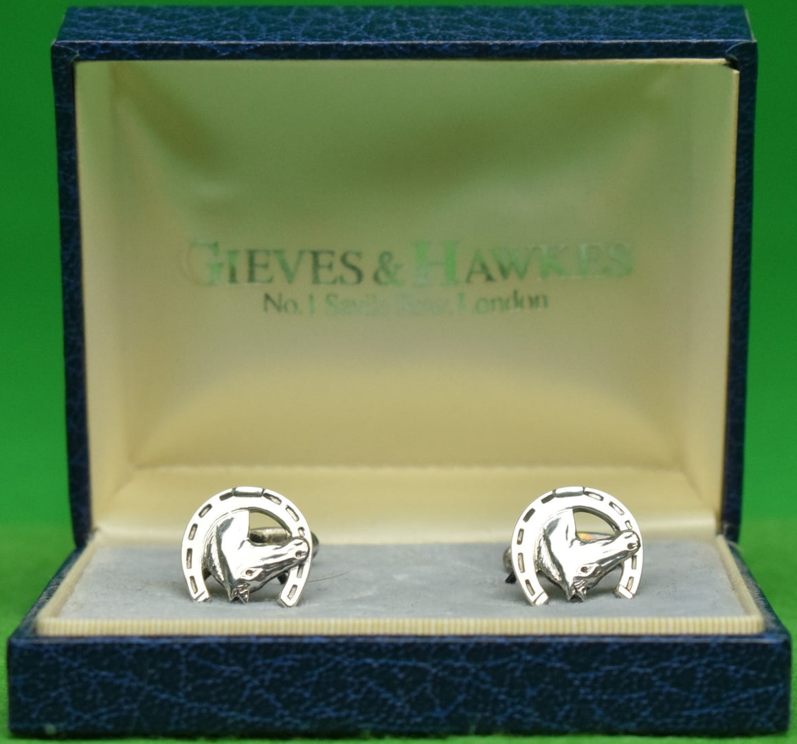 Gieves & Hawkes Sterling Horseshoe T-Back Cufflinks in G&H Box