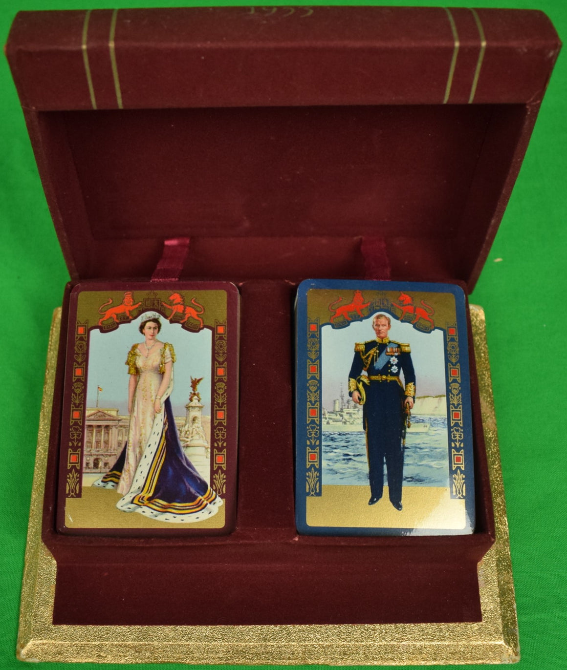 Abercrombie & Fitch 1953 QEII Coronation Twin Sealed Decks of Playing Cards