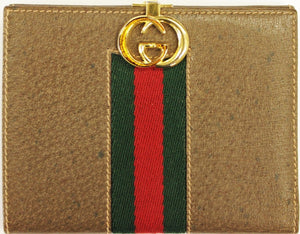 "Gucci Leather Card Case w/ Red/ Green Surcingle Stripe & Brass ""G"" Clasp"