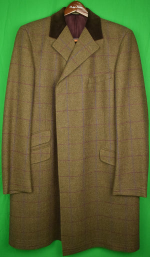 Windowpane Paddock Coat w/ Chesterfield Collar Sz: 46R (As New!)