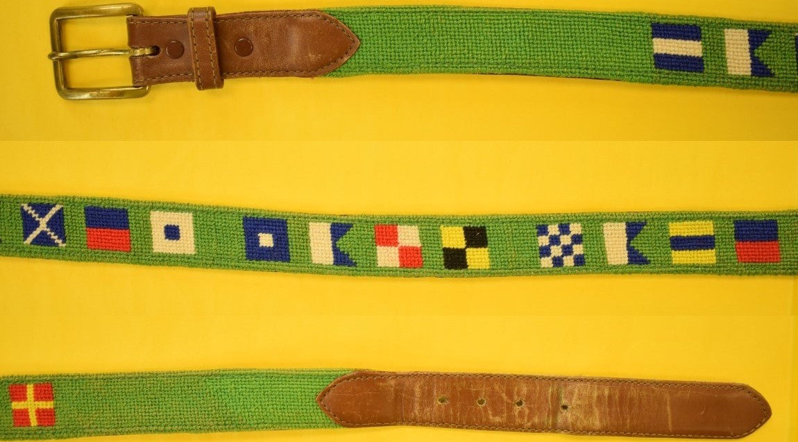"Hand-Needlepoint Green Belt w/ (14) Signal Flags Sz: 37""W"