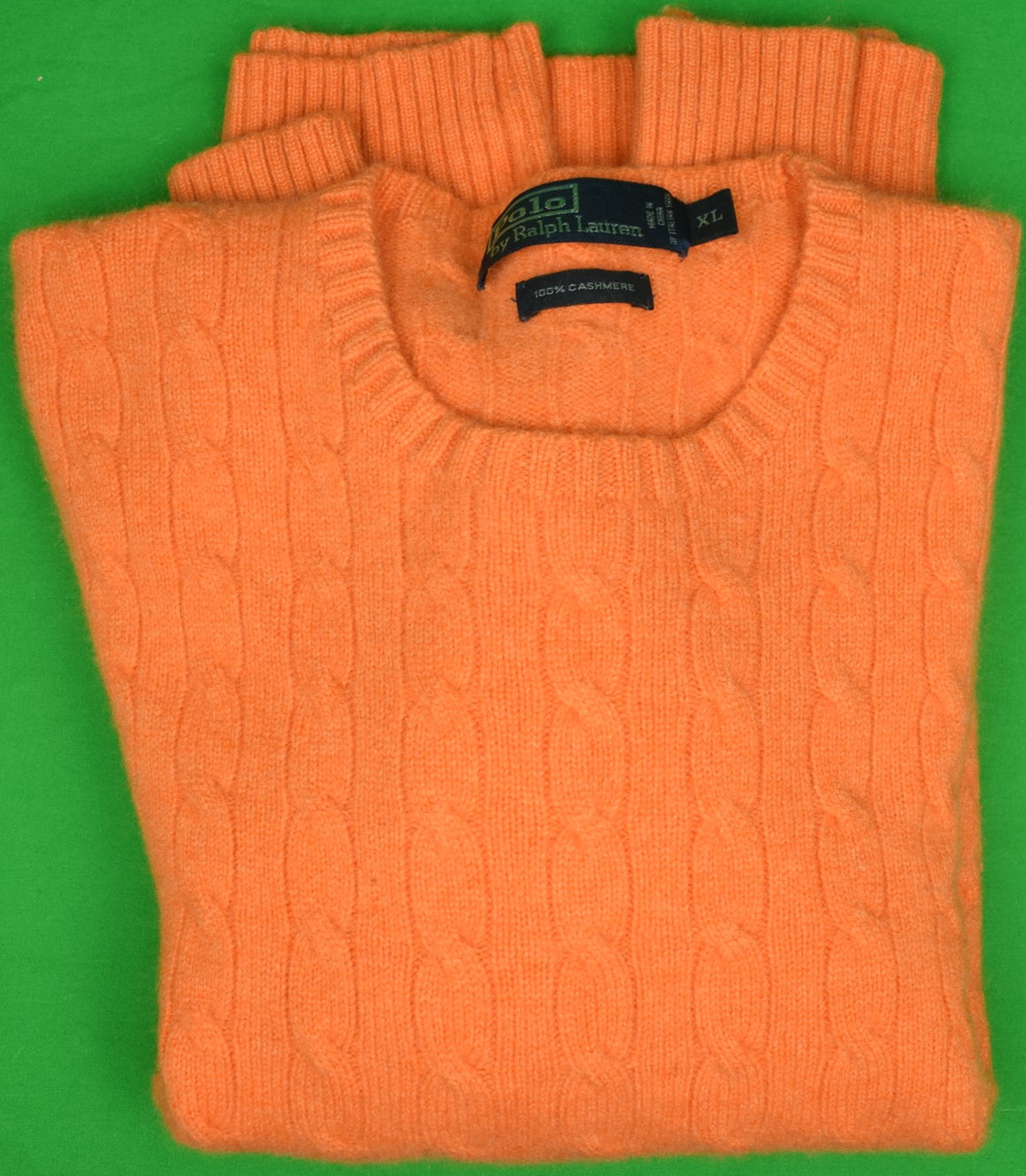 Polo by Ralph Lauren 100% Cashmere Orange Cable Crew Neck Sweater Sz: XL