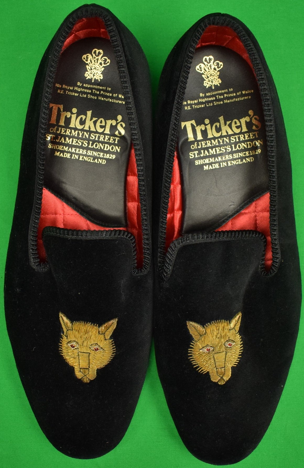 Trickers of Jermyn Street Black Velvet Fox-Mask Slippers Sz: 9.5