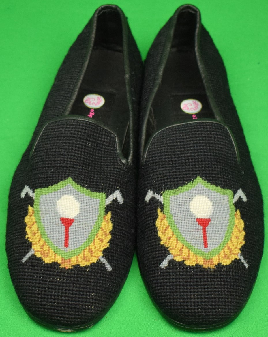 """Needlepoint Black Slippers Embroidered w/ Golf Crest"" Sz: 11 (New!)"