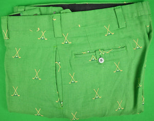 "Chipp Green Linen Trousers w/ Embroidered X'd Golf Clubs Sz: 40""W"