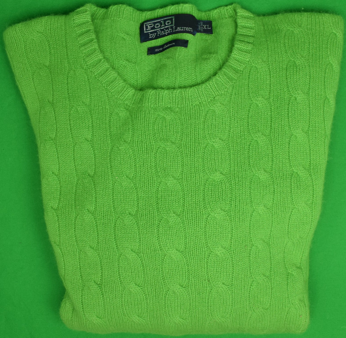 Polo by Ralph Lauren Apple Green 100% Cashmere Cable Crew Neck Sweater Sz: XL