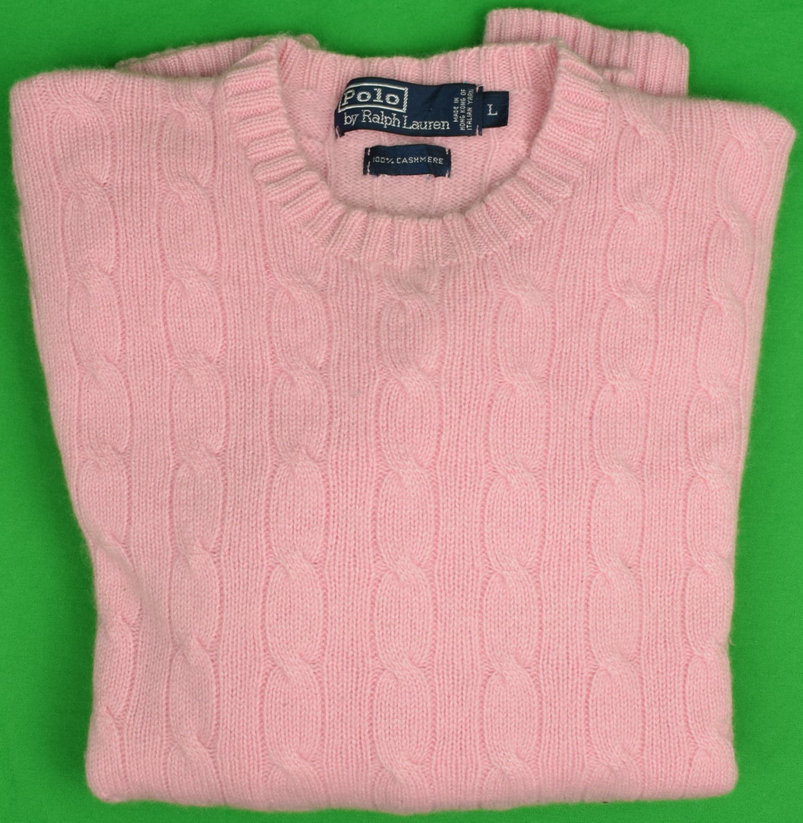 """Polo by Ralph Lauren 100% Cashmere Cable Crewneck Shell Pink Sweater Sz: L"""