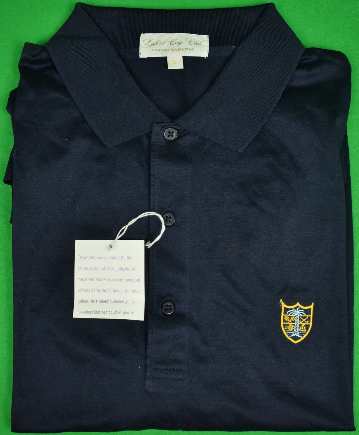 Lyford Cay Club Navy Cotton Lisle Sport Shirt Sz: L (New w/ Tag!)