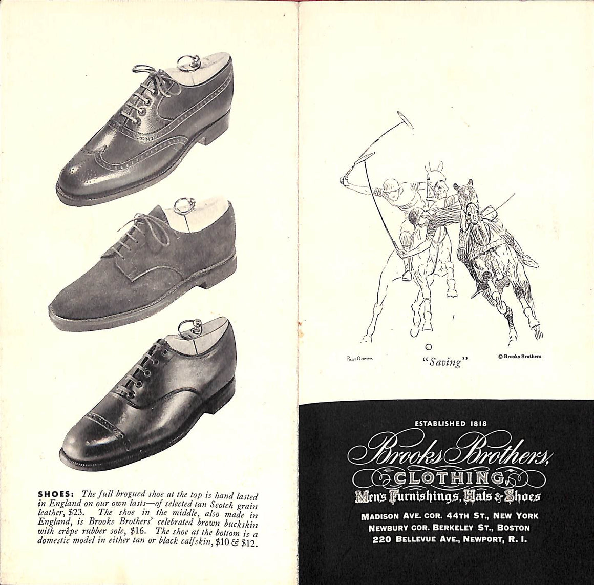 Brooks Brothers [2] pp. Flyer w/ Paul Brown Polo Player (SOLD)