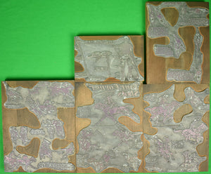 Paul Brown c1948 Polo Letterpress 5 Printer's Plate Blocks