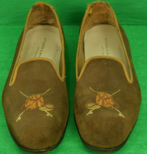 Stubbs & Wootton Creel Bag w/ Emb X'd Fly Rods Tobacco Suede Slippers Sz: 12 (SOLD)