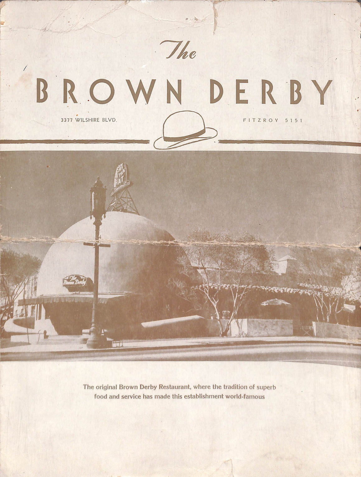 """The Brown Derby Restaurant Menu 12/16/1941"""