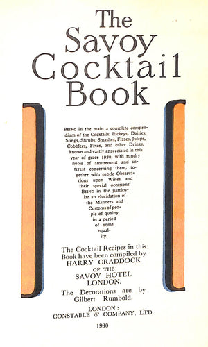 """The Savoy Cocktail Book"" 1930 First Edition by Harry Craddock"