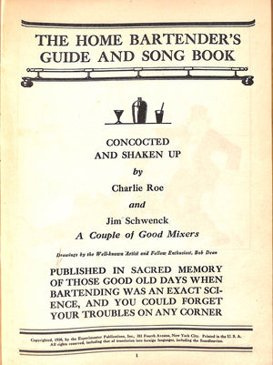 The Home Bartender's Guide and Song Book by Charlie Roe & Jim Schwenck