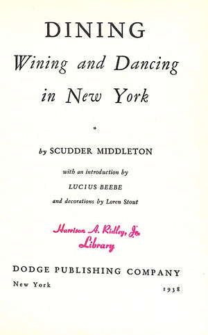 'Dining Wining and Dancing in New York' 1938 by Scudder Middleton