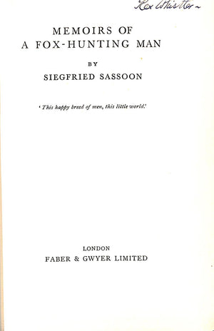 Memoirs of a Fox-Hunting Man by Siegfried Sassoon (Rex Whistler's Copy!)