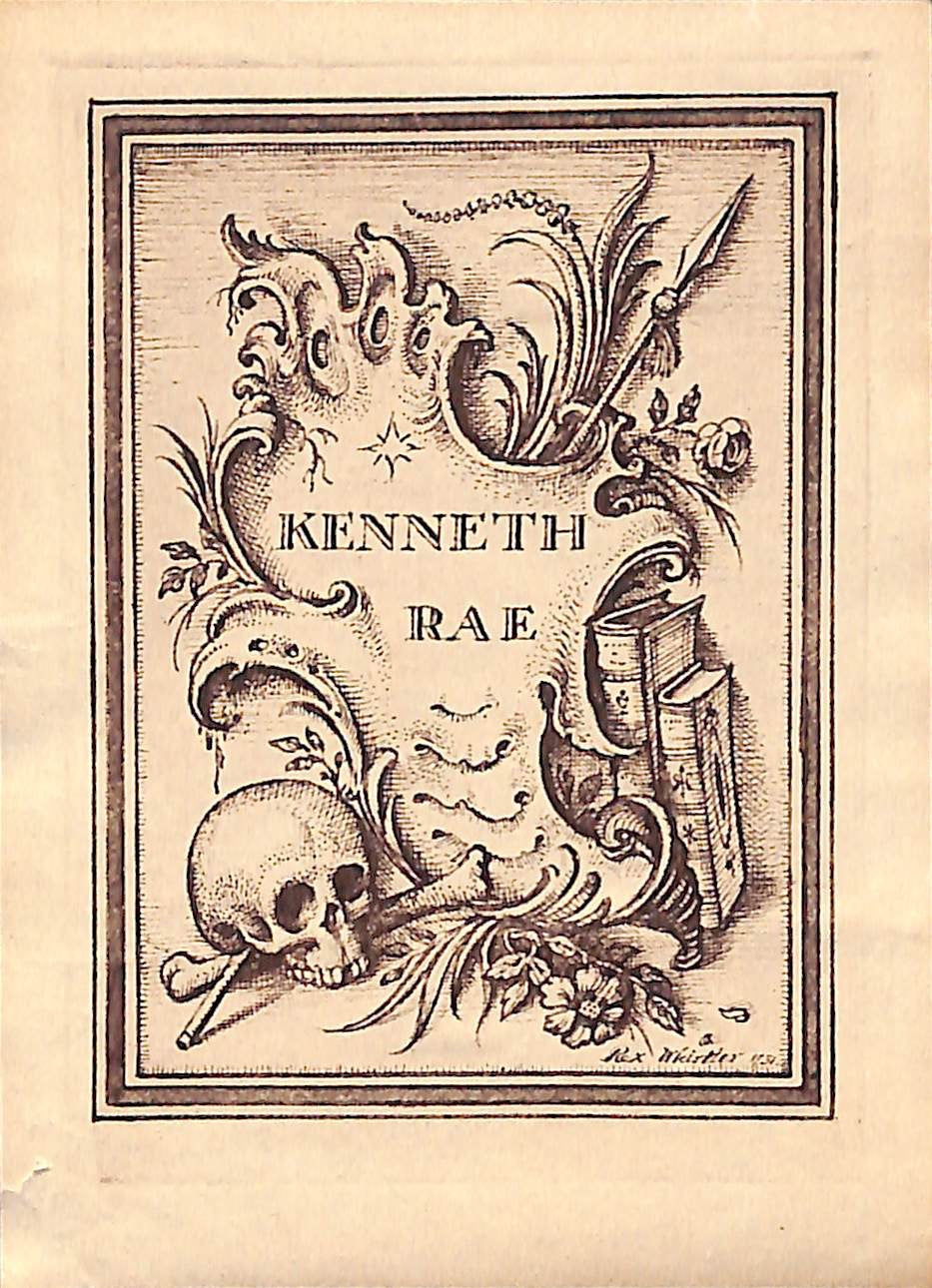 Rex Whistler Designed 1931 Bookplate For Kenneth Rae