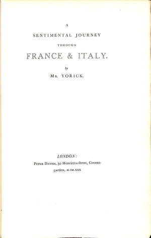 A Sentimental Journey Through France & Italy by Mr. Yorick